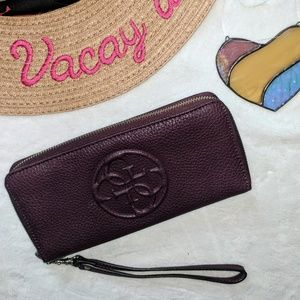 Guess Dark Purple Leather Zipper Wallet Large